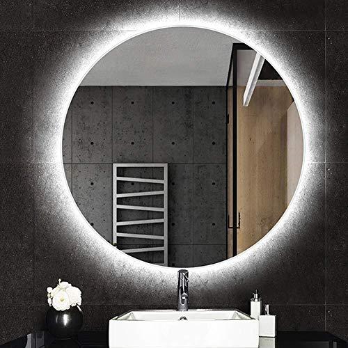 QZ Wand befestigten beleuchteter Badezimmerspiegel 50/60/70 / 80cm Rasierspiegel mit Illuminated LED HD Ex-Schutz, mit Touch -Dimmbar (weiß/warmes Licht) (Color : White Light, Size : 50cm)