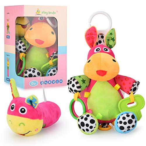 Play Bodu 2in1 Baby Spielzeug Set Spieluhr Mia und Rassel Lia Ab 0+ Monate für Mädchen/Junge Erstausstattung Neugeborene Motorik Lernspielzeug zum Aufhängen