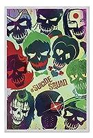 自殺隊DCコミックス映画頭蓋骨ポスターコルクピンメモボードシルバー額入り - 96.5 x 66 cm(約38 x 26インチ)