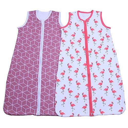 HAIHF Saco de Dormir para Bebé, Paquete de 2 Mantas, 0.5 TOG Saco de Dormir de Algodón Unisex para Bebés Verano, Longitud Ajustable 90-110 cm para Bebé