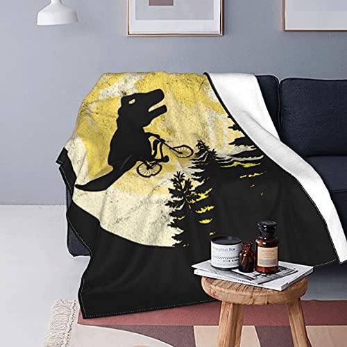 Manta de forro polar con diseño de dinosaurio Moon T-Rex para sofá, manta versátil y suave para cama y sofá, de viaje, 150 x 100 cm