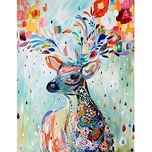 DIY 5D Alces de Color Real Diamante Pintura por Número Kit, Elk Bricolaje Diamond Painting Rhinestone Bordado de Punto de Cruz Artes Manualidades Lienzo Pared Decoración (30x40cm)