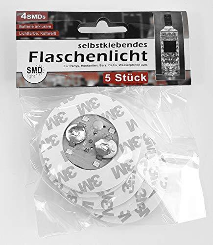 Selbstklebendes Flaschenlicht 5er Set mit jeweils 4 SMD LED - Flaschenbeleuchtung zum unter die Flasche kleben mit 3 Leuchtfunktionen - Das Highlight auf jeder Party!