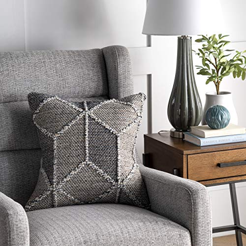 nuLOOM Chara Textured Diamond Throw Pillow Cover, 20' x 20', Gray