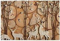 子供のための1000ピースのジグソーパズル大人の秋のニホンジカ鳥の切り株蝶DIYパズルフェスティバル家の装飾