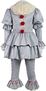 Horror Clown Costume Scary Creepy Halloween Cosplay Outifits Film Fancy Dress for Adult & Kids