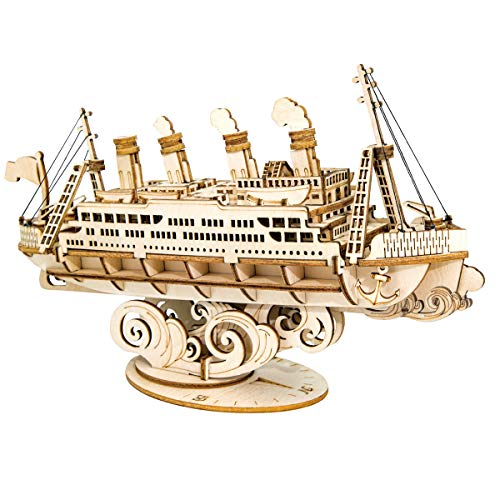 ROBOTIME 3D Wooden Puzzle for Kids and Adults Boat Building Kits Craft Brain Teaser DIY Kits for Children 8 Years Old and Up (Cruise Ship)