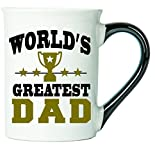 Cottage Creek Coffee Mug, Dad Mug, Large 18oz Ceramic World's Greatest Dad Coffee Mug with Black Handle, Gifts for Dad [White]