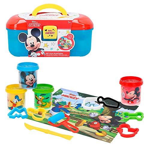 Disney Kit caja plastilina Mickey con 4 botes de 114 g accesorios y tapete (Colorbaby 77180)