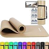 MSPORTS Gymnastikmatte Premium inkl. Tragegurt + Übungsposter + Workout App I Hautfreundliche Fitnessmatte 190 x 100 x 1,5 cm - Beige-Caramel - Phthalatfreie Yogamatte