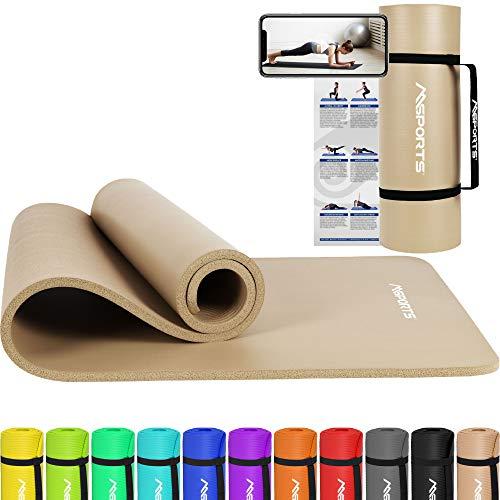 MSPORTS Gymnastikmatte Premium inkl. Tragegurt + Übungsposter + Workout App I Hautfreundliche Fitnessmatte 190 x 60 x 1,5 cm - Beige-Caramel - Phthalatfreie Yogamatte