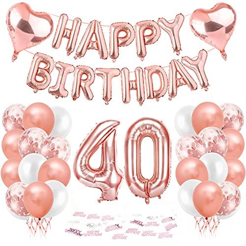 Compleanno Festa Decorazioni, 40 Anni Compleanno Decorazioni per Donna, Oro Rosa Striscione di Happy Birthday Numero Foil Palloncini Palloncini Lattice Ballon, feste per il trentesimo compleanno