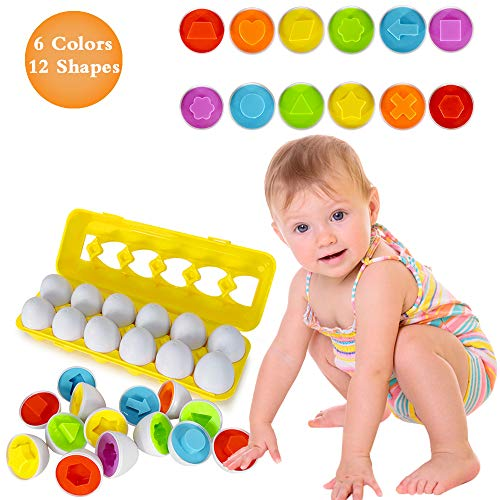 Educational Toys for 1 2 3 4 Year Old Girls Boys- Color Matching Egg Set Gifts for 1-6 Boys Girls Color & Number Recognition Skills Learning Toy Puzzle Sorting Eggs Educational Game for Kids age 2 3 4
