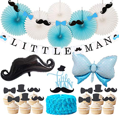 Little Man Baby Shower Decorations Little Man Banner Garland Cake Topper Mustache Bow Tie Mylar Balloon for Boys Birthday Party Decorations