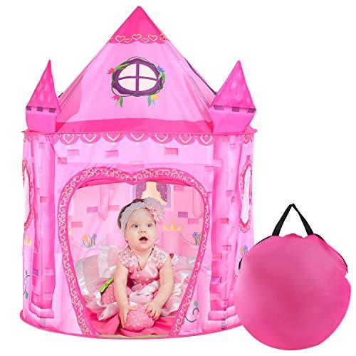Tacobear Princesa Tienda Campaña Infantil Niñas Princesa Castillo Carpa Infantil Niñas Portátil Tienda Pop Up Casa de Juegos para Interiores y Exteriores con Bolsa de Transporte