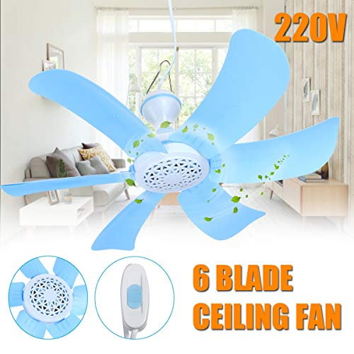 Kul-Kul - Smuxi 220V 7W Portable Fan Household 6 Blades Mini Mute Ceiling Fan with ABS Blades Power Plug Switch Energy Saving Cooler Fan