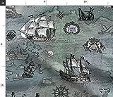Pirat, Landkarte, Illustration, Historisch, Schiff,