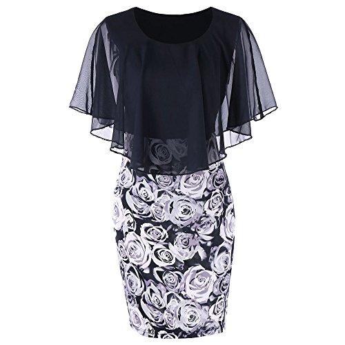 VEMOW Elegant Damen Schlauchrock Casual Plus Size Rose Print Schmetterlingshülse Chiffon O-Neck Rüschen Minikleid (Schwarz 2, 54 DE / 5XL CN)