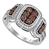 Sonia Jewels Size 7-10k White Gold Round Chocolate Brown Diamond Cluster Ring (1/3 Cttw)