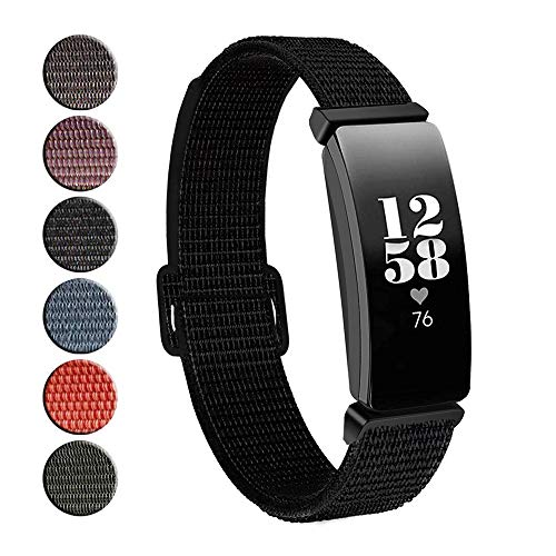 REYUIK Replacement for Fitbit Inspire HR & Inspire Bands Women Men Large Small, Woven Soft Nylon Accessories Strap Wrist Band Compatible with Inspire HR Fitness Tracker (Black)