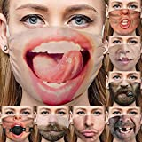 【Reusable & Washable】 This funny face mask is made of polyester and cotton, and it can be reused after washing 【Comfortable】 The soft fabric and skin-friendly design make this cotton mask more comfortable to wear 【Protection】Cloth face masks can bet...