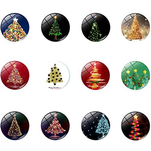Yarnow 1 Satz Weihnachtsmagnet Glasaufkleber Weihnachten Kühlschrank Magnete- Weihnachtsmuster 3D Dekorative Glaskühlschrank Magnete Kleine Magnete für Kalender Dekorative Kühlschrank