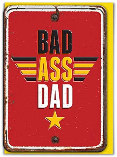 Grappige 'Bad Ass Dad' in reliëf Vaderdag Groeten Card