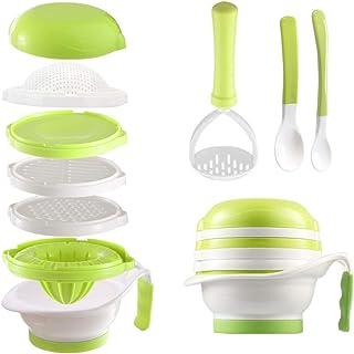 مجموعه غذای کودک ساز Matyz متنوع - کارخانه مواد غذایی کودک نو پا با کاسه مش ، دست ماسر ، آب مرکبات مرکبات ، رنده کننده - تهیه غذای خانگی کودک - میوه ها و سبزیجات Masher - BPA Free (Matyz Green)