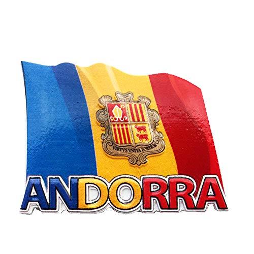 Kühlschrankmagnet, Motiv: Andorra-Flagge, 3D-Reisesouvenir, Geschenk, Kühlschrankmagnet, Heim- & Küchendekoration, Kunstharz