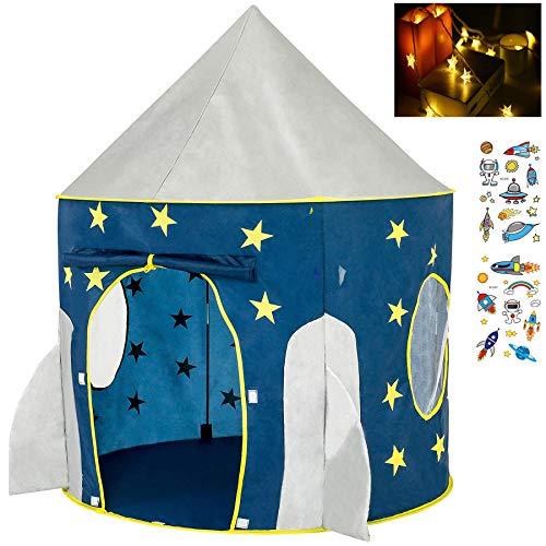 Georgie Porgy Kinder Faltbares Spielhaus Portable Aufpoppen Zelt Schloss Indoor Outdoor Spielzeug Garten Rakete (Leuchtend) Zelt Kostenlos für LED-Licht + Kinder Tattoo Aufkleber *2