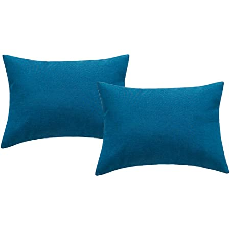 4th Emotion Outdoor Waterproof Lumbar Pillow Covers Garden Cushion Case For Patio Couch Sofa Polyester Home Decoration Pack Of 2 12 X 20 Inches Dark Blue Home Kitchen