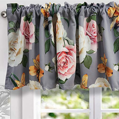 YoKii Floral Valances for Windows 18''L Room Darkening Shabby Chic Boho Valance Curtains Blackout Window Treatments for Kitchen Bedroom Living Room Decors (W52 x L18, Grey)