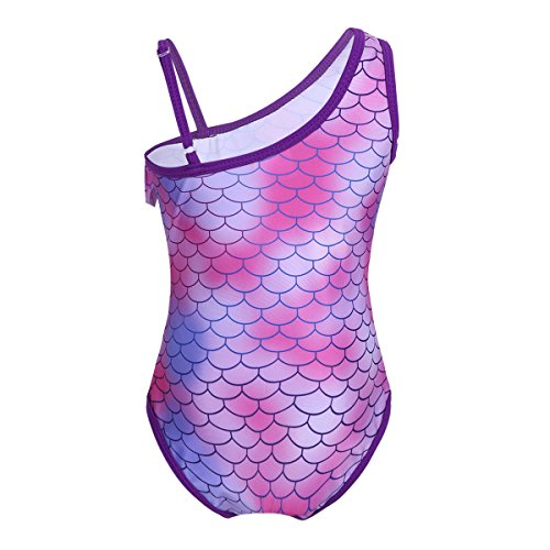 Choomomo Kids Girls One Shoulder Mermaid Scales Swimsuit Ruffle Bikini One Piece Swimwear Swimming Costumes Purple 6-7 Years