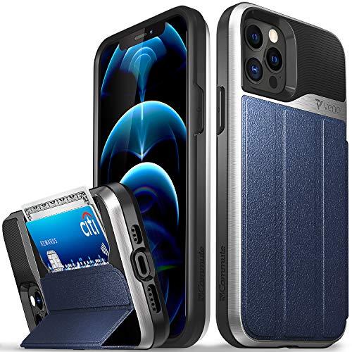 Vena vCommute Funda Cartera Compatible con Apple iPhone 12 / iPhone 12 Pro (6.1'-Inch), (Military Grade, Ranuras para Tarjetas) Carcasa de Cuero Case con Función de Soporte - Azul