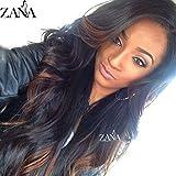 Zana peluca de aspecto Natural Suelto Cuerpo wave tablón humanos Lace Front Peluca con Side Bangs 130densidad peluca de pelo largo con dos tono Ombre peluca