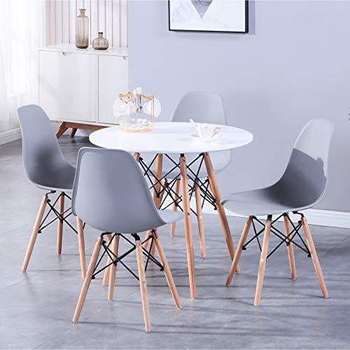 BenyLed Tavolo da Pranzo e 4 Sedie, Tavolo Rotondo in Legno Massiccio da 80 cm, con 4 Sedie da Pranzo, per Casa, Ufficio, Cucina, Balcone e Giardino, Colore: Bianco+Grigio