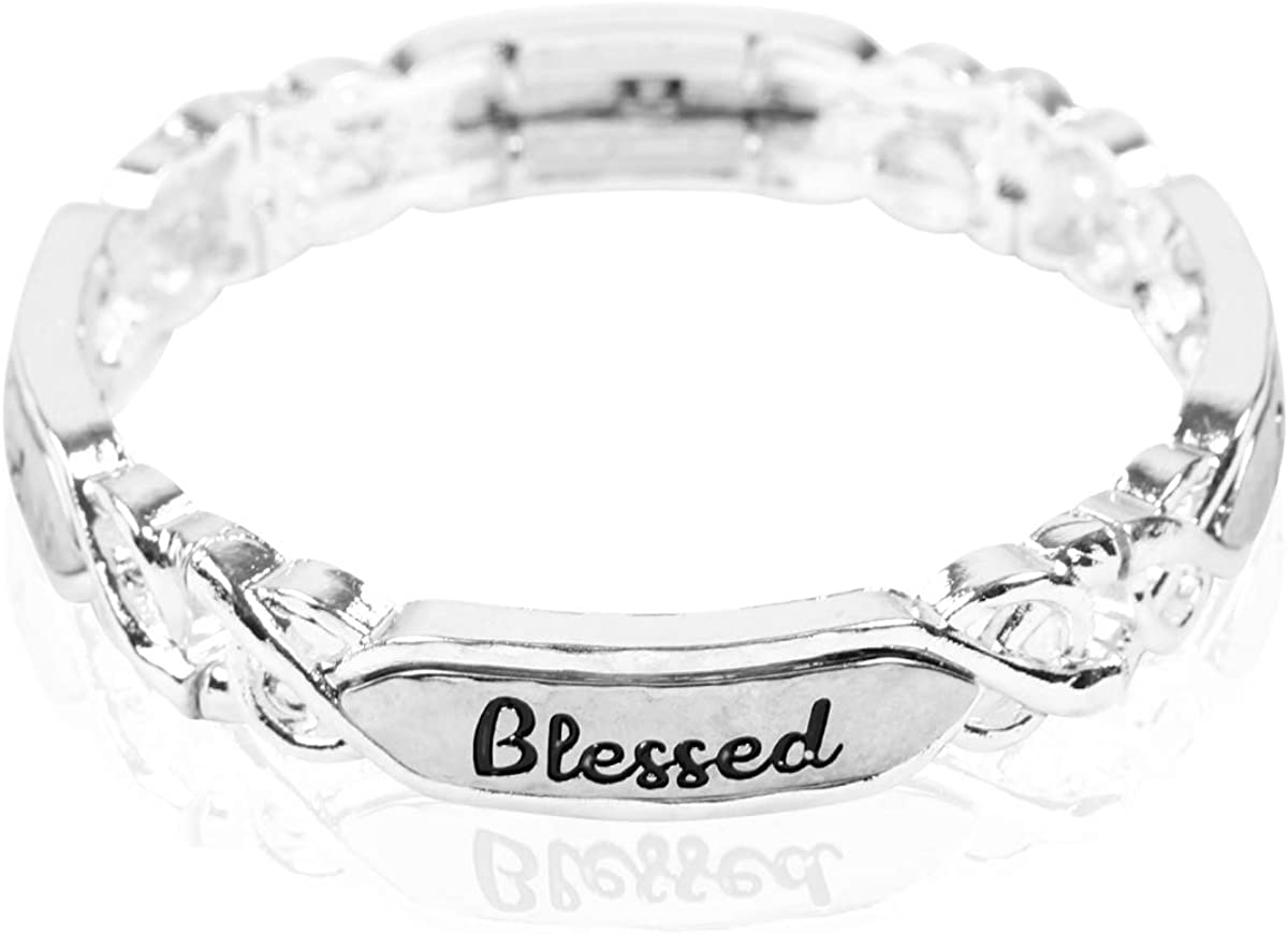 Inspirational Bar Metallic Bangle - Simple Message Engraved Geometric Cuff Bracelets Christian Bible/Religious/Blessed/Faith/Love/Hope/Wisdom
