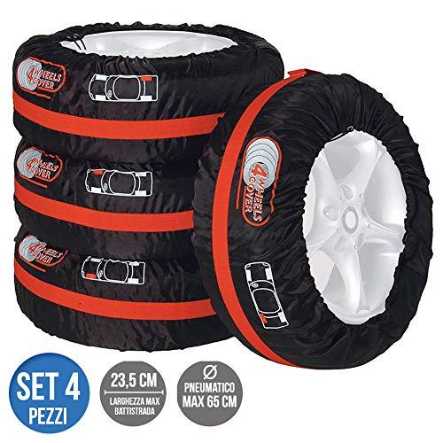 BAKAJI Set 4pz Borsa Custodia Protezione Pneumatici Auto Cover Storage per Gomme Ruote Diametro Max 65cm Larghezza Max 23,5cm in Tessuto Poliestere co