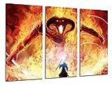 Kunstdruck mit Rahmen, Motiv Gandalf Kampf gegen Dämon des