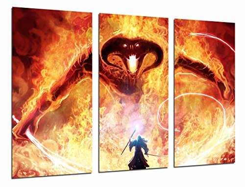 Poster Fotográfico Gandalf lucha demonio de fuego Tamaño total: 97 x 62 cm XXL