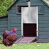 Kacsoo Ouvre-porte automatique de poulailler, Porte de poulailler de luxe Kit Porte perforée anti-viande, étanche, avec minuterie et capteur infrarouge, utilisée dans les fermes et les maisons.