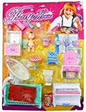Zaid Collections Fashion Doll Furniture Sets with Small House (12 Accessories, Multi Colours)