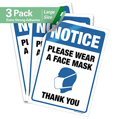Pixelverse Design 7x10 - Social Distancing Decal Sticker - Please Wear A Face Mask - Thick Commercial Grade Adhesive Sign - Safety for Grocery Stores, Hospitals, Restaurants - 3 Pack
