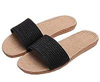 [SHPEROWW] レディース メンズ ルームシューズ 夏春 スリッパ 室内履き 静音で軽量 麻 可愛い 滑り止め 来客用 部屋用 ギフト ブラック 25.0-25.5cm