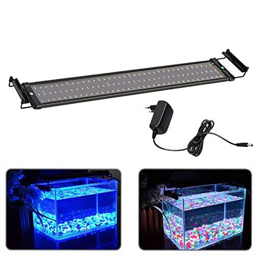 MLJ Aquarium LED Beleuchtung 6W/11W/18W, mit Verstellbarer Halterung Lampe für 30cm-45cm/50cm-70cm/70cm-90cm (70-90 cm, 18W 80A, Blau + Blau & Weiß)