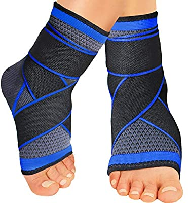 Ankle Brace Support, Plantar Fasciitis Compression Sleeve Foot Socks with Arch Support for Plantar Fasciitis/Achilles Tendonitis/Relief Arch Heel Spurs/Eases Swelling -for Sports, Running -Pair (L)