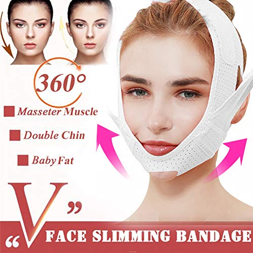 YJF Facial Lifting Slimmer Belt, V-Line Mask Neck Compression Double Chin Strap Weight Loss Belt Skin Care Lift Chin Lifting,Blanc
