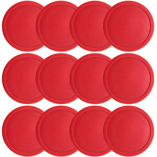 Brybelly One Dozen Large 3 1/4 inch Red Air Hockey Pucks for Full Size Air Hockey Tables