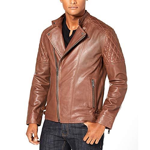 INC International Concepts Men's Asymmetrical Full-Zip Leather Jacket Brown Large