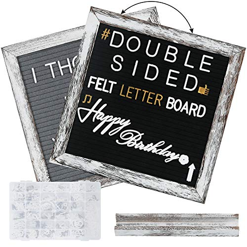 Double Sided Felt Letter Board- with 560 Pre-Cut 2 Size White & Gold Letters Sorted in Organizer- 10x10 Grey and Black Changeable Letterboard Message Board Sign, Wall & Tabletop Display, by NEARPOW